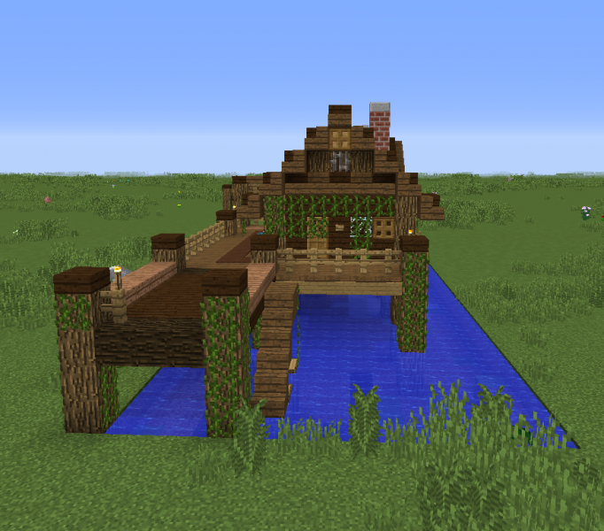 how to build a wooden hut in minecraft