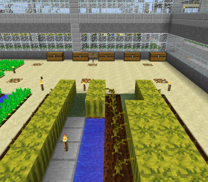 Large Glass Walled Minecraft House: Glass House Vegetables Farm