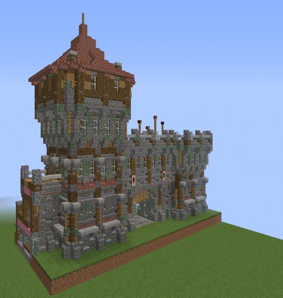 Large Glass Walled Minecraft House: Medieval Wall Gate With Tall Guard Tower V2