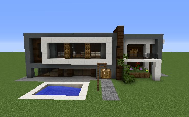 Modern minecraft house mountain